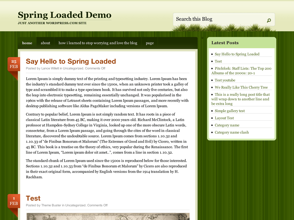 Screenshot of the Spring Loaded theme
