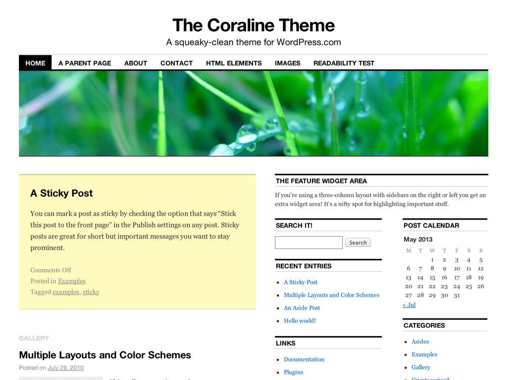 Screenshot of the Coraline theme