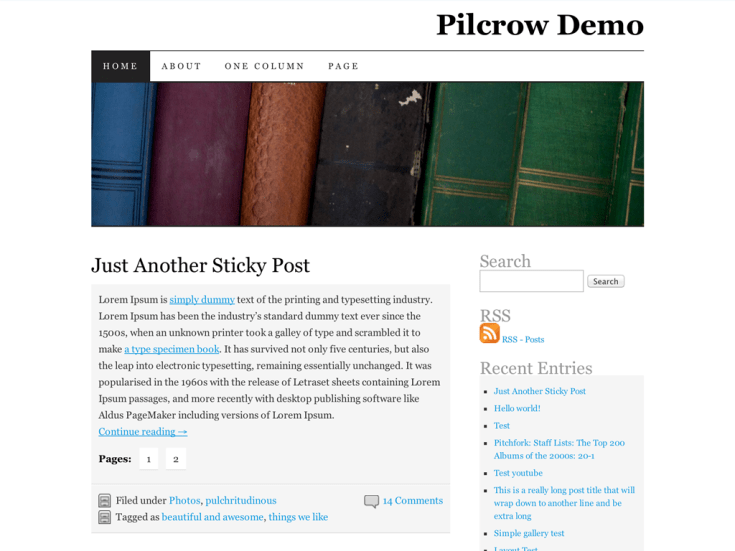Screenshot of the Pilcrow theme