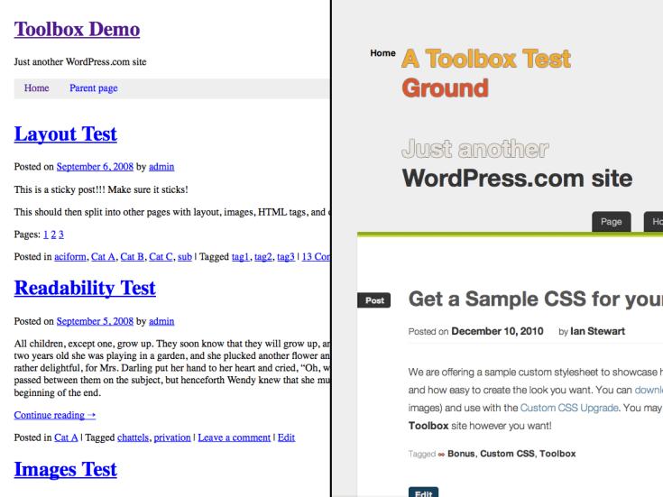 Screenshot of the Toolbox theme