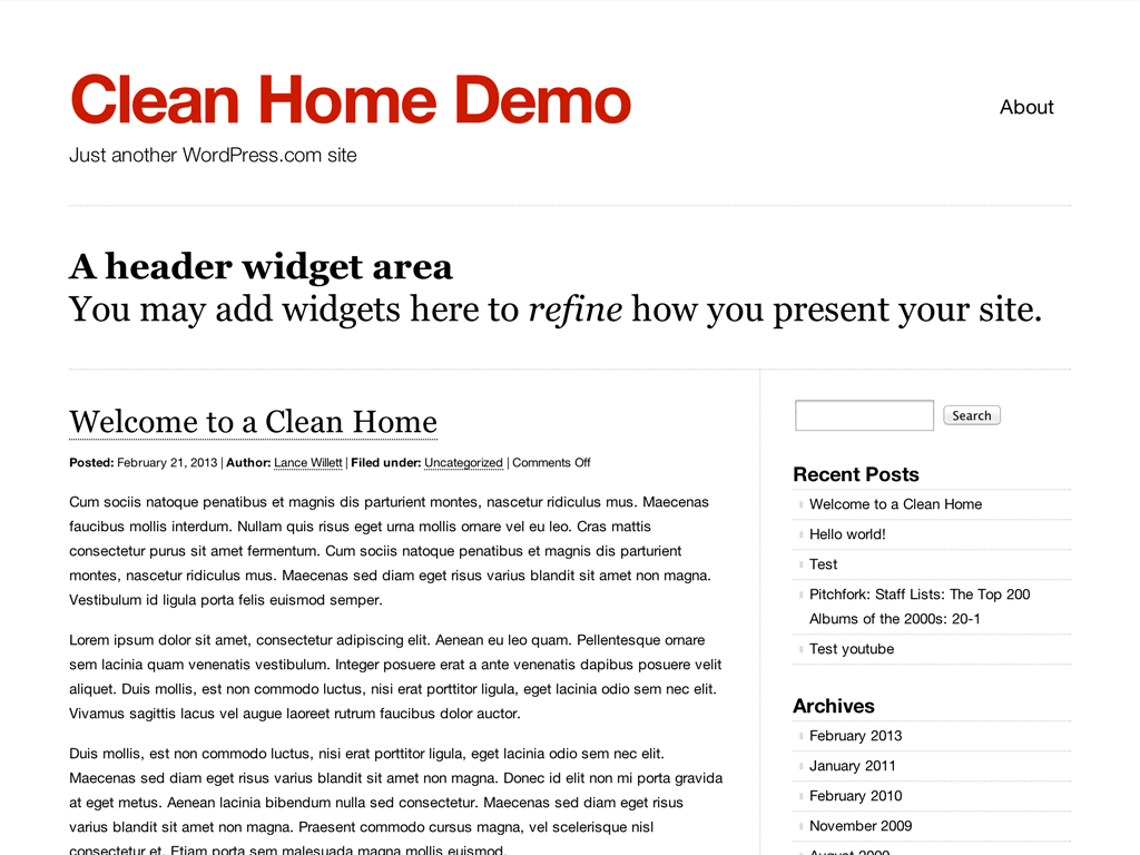Screenshot of the Clean Home theme
