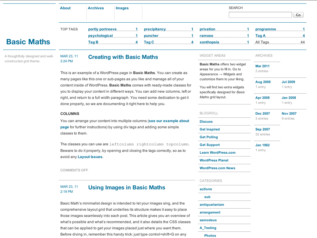 Basic Maths WordPress Theme
