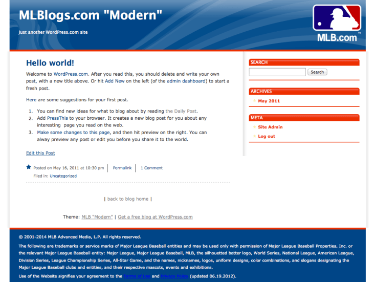 "Screenshot of the MLB ""Modern"" theme"