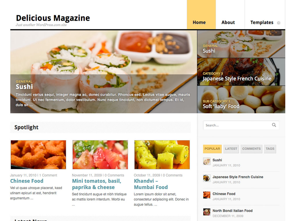 Screenshot of the Delicious Magazine theme