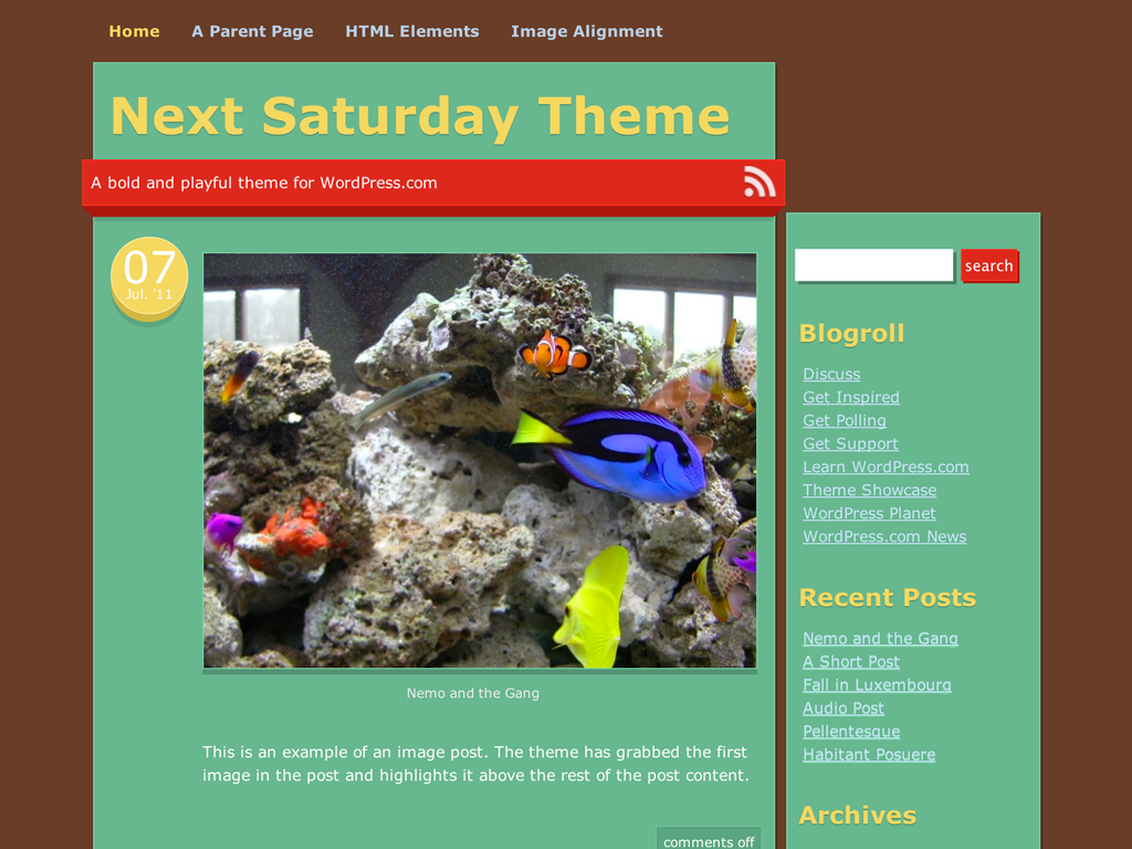 Screenshot of the Next Saturday theme