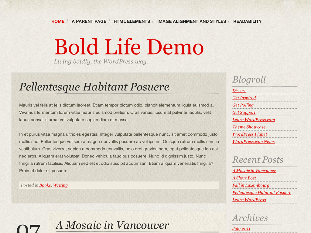 Screenshot of the Bold Life theme