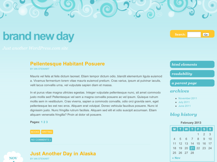 Screenshot of the Brand New Day theme