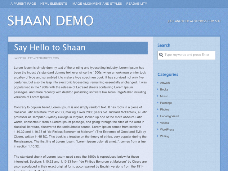 Screenshot of the Shaan theme