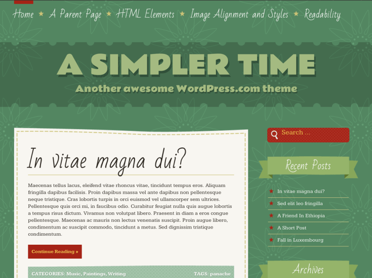 Screenshot of the A Simpler Time theme