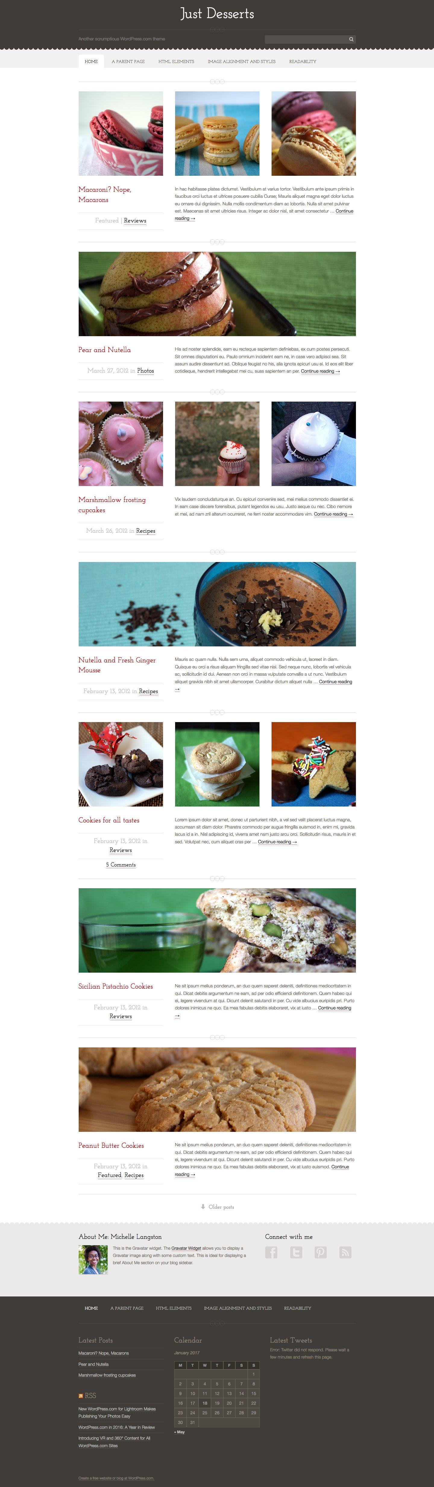 Screenshot of the Just Desserts theme
