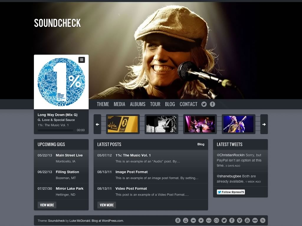 Screenshot of the Soundcheck theme