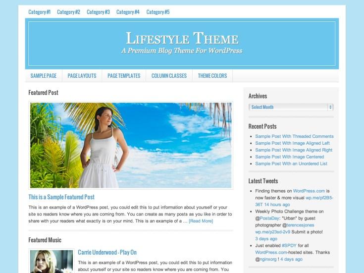 Screenshot of the Lifestyle theme