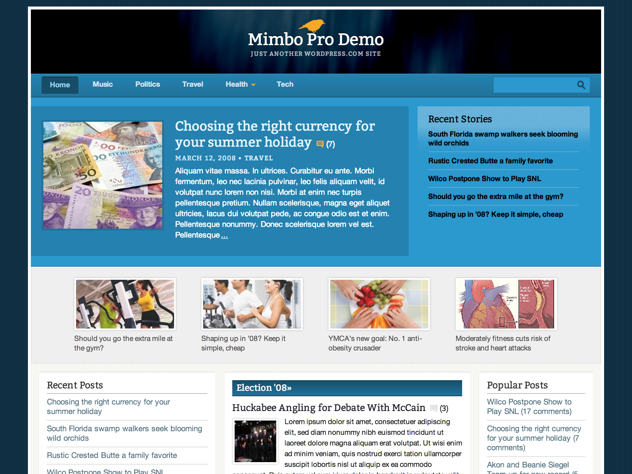 Screenshot of the Mimbo Pro theme