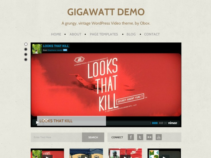 Screenshot of the Gigawatt theme
