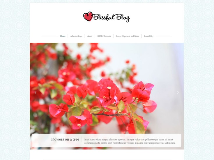 Screenshot of the Blissful Blog theme
