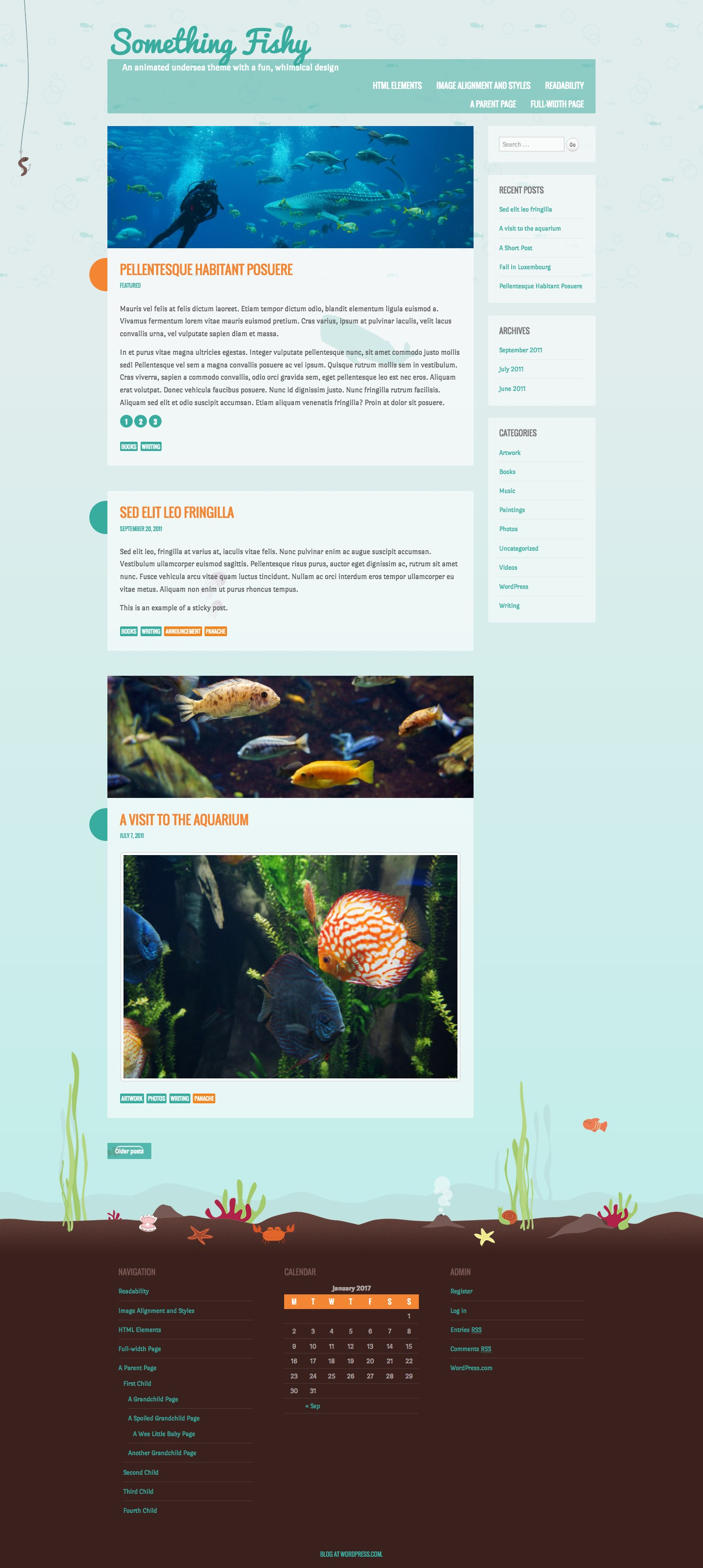 Screenshot of the Something Fishy theme