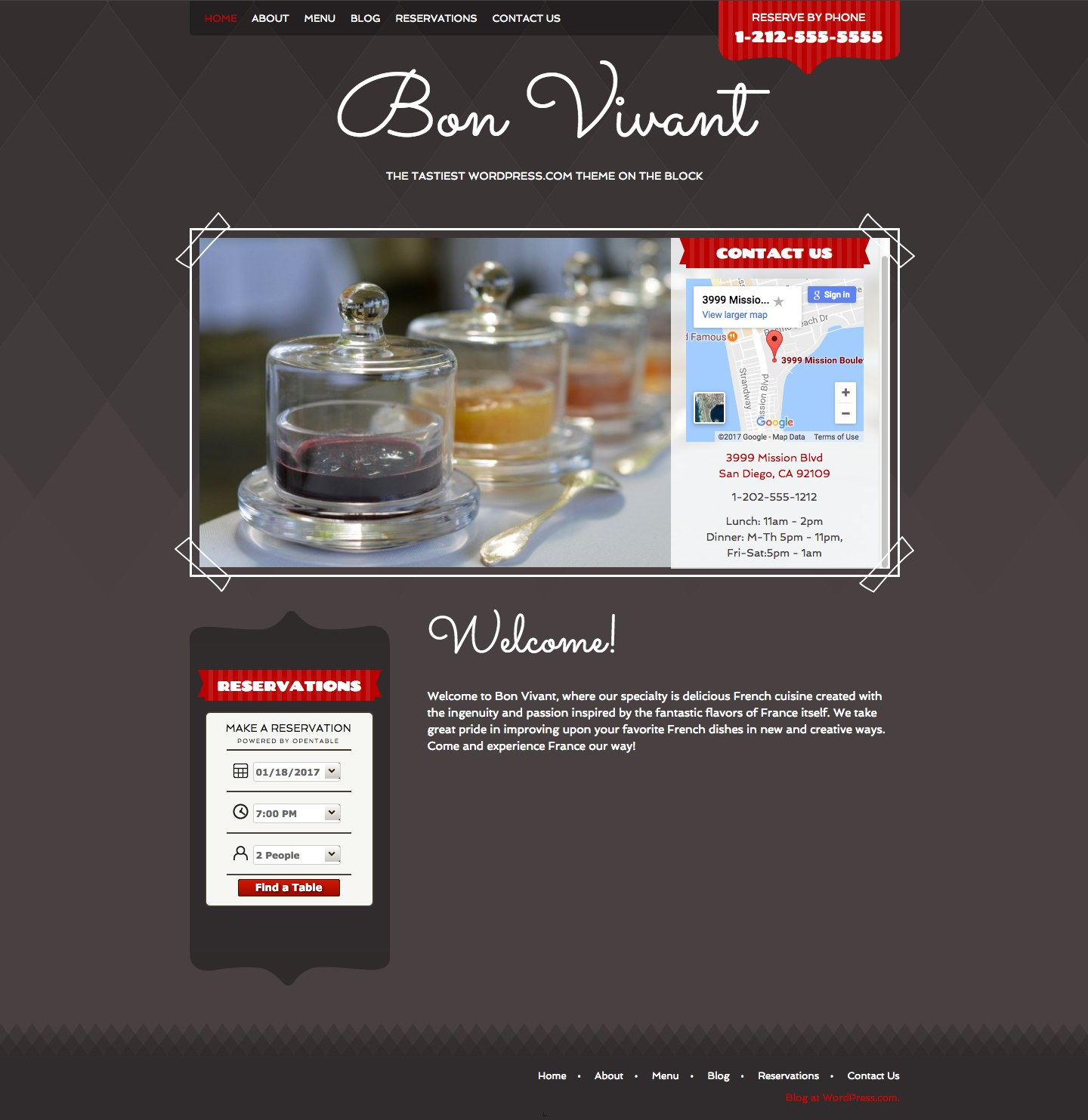 Screenshot of the Bon Vivant theme