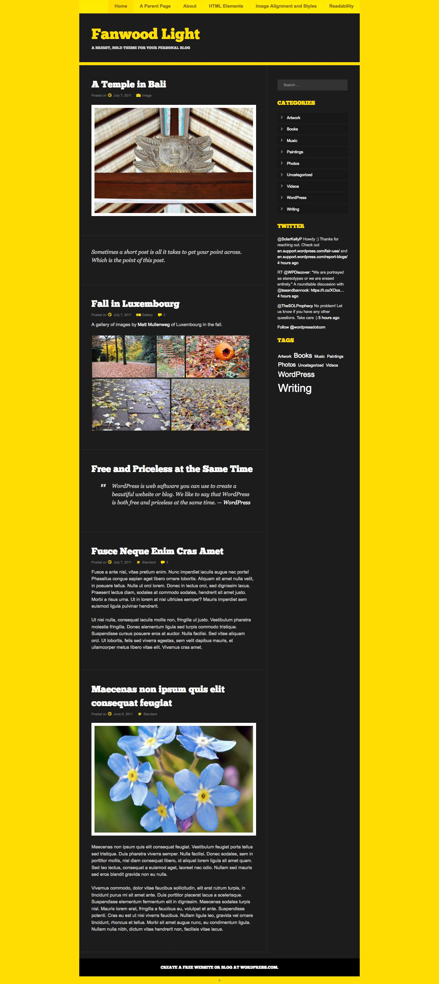 Fanwood Light WordPress Theme