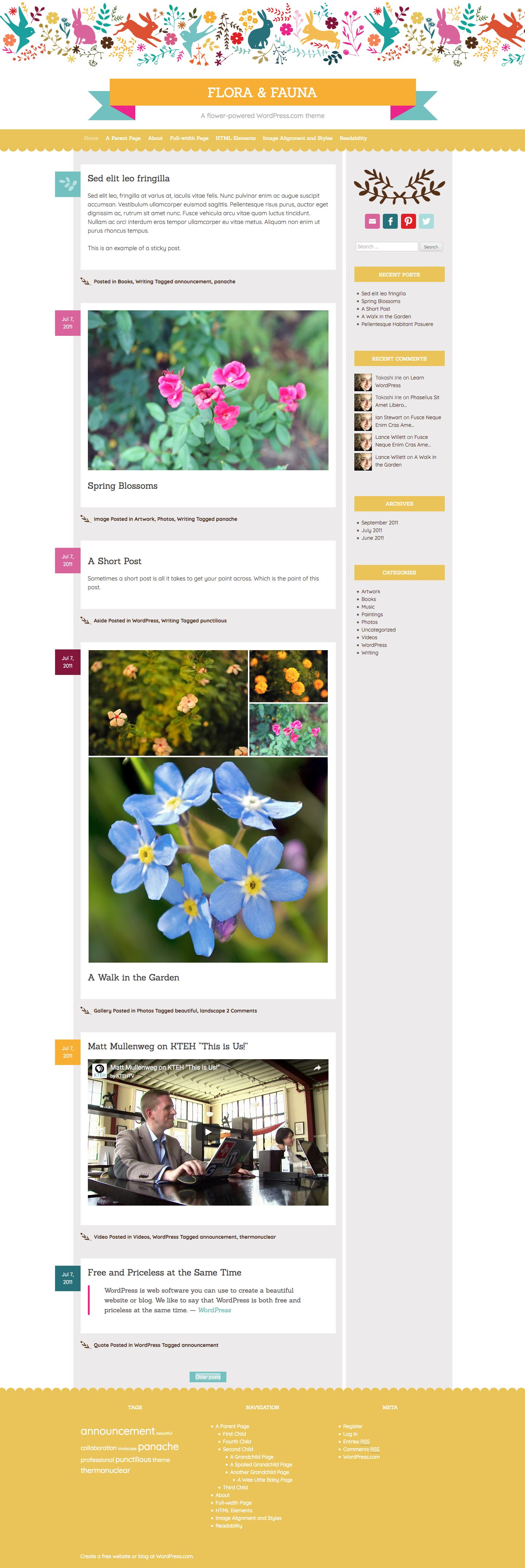 Screenshot of the Flora and Fauna theme