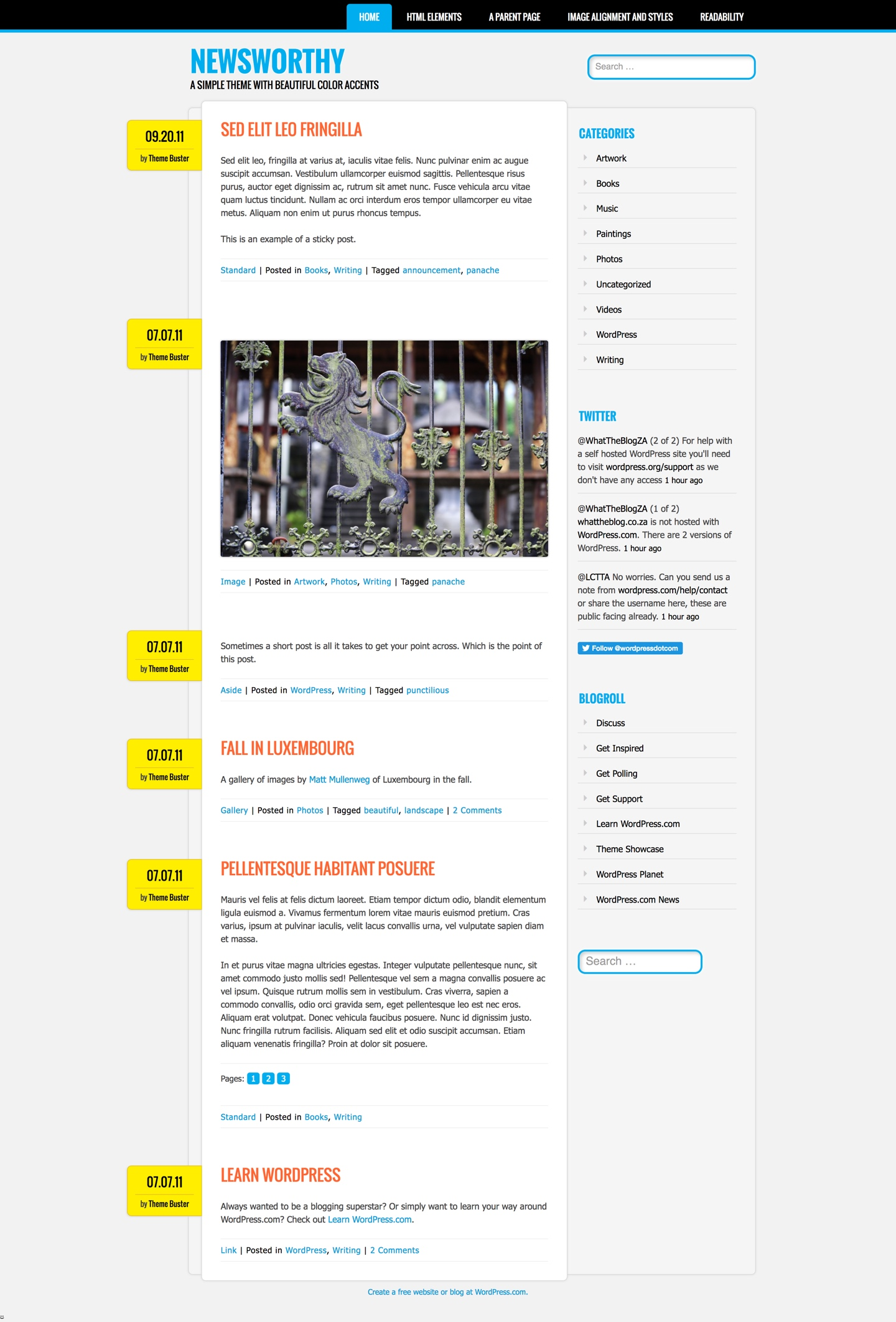 Screenshot of the Newsworthy theme