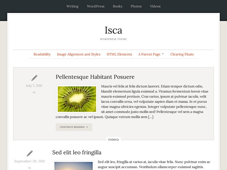 Screenshot of the Isca theme