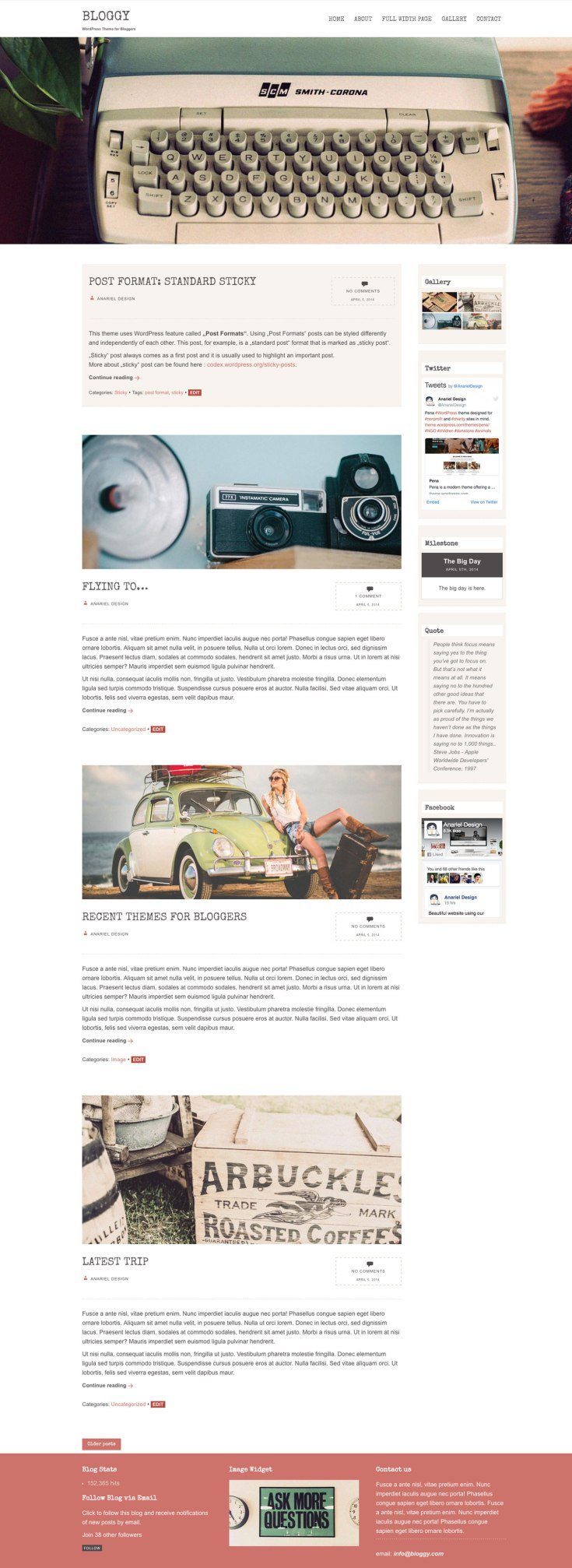 Screenshot of the Bloggy theme