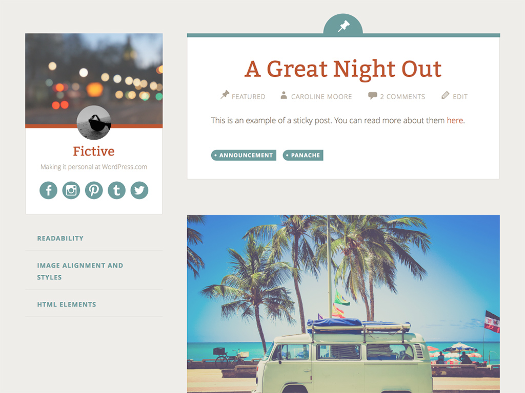 Fictive WordPress Theme
