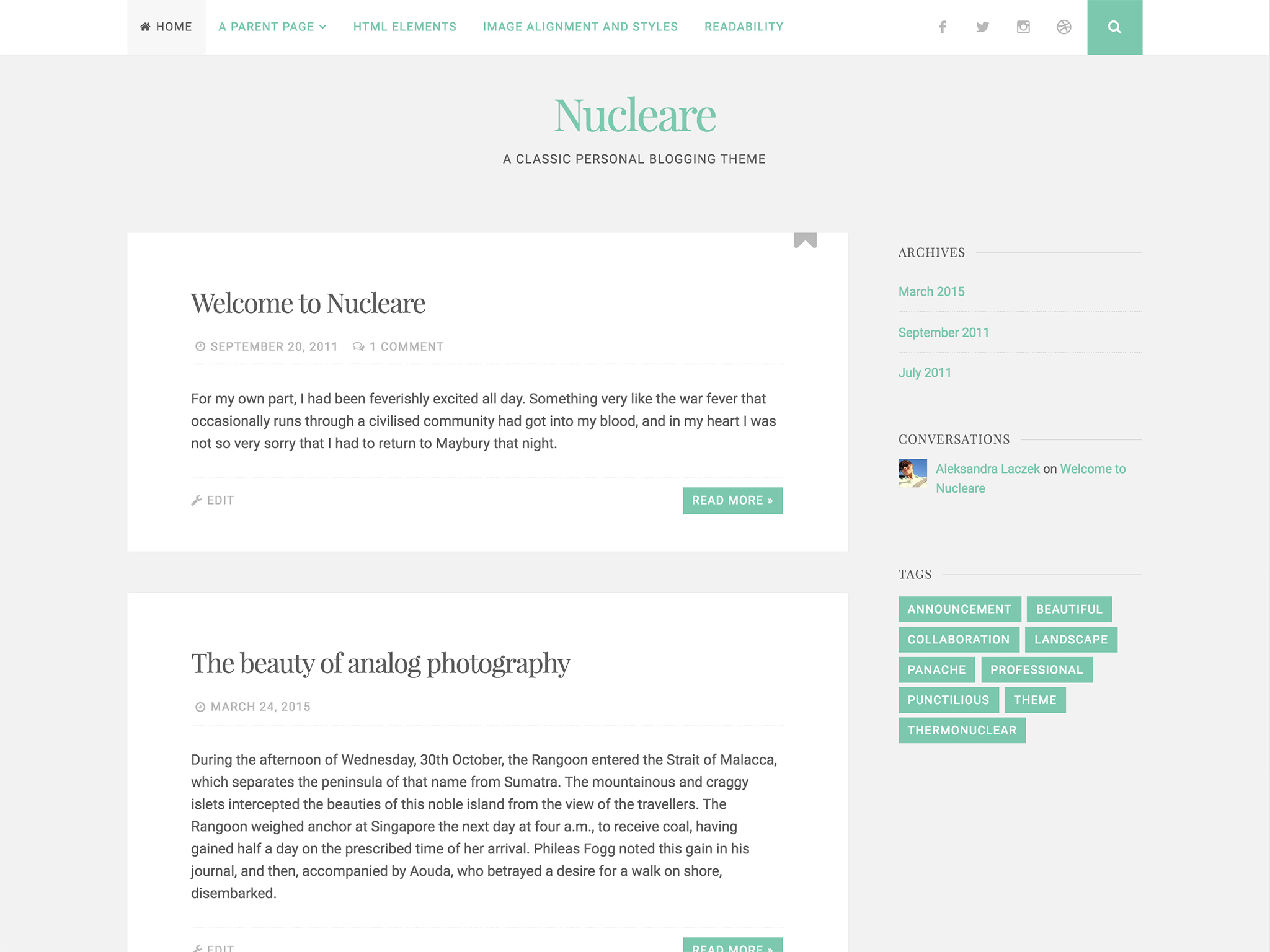 Nucleare WordPress Theme