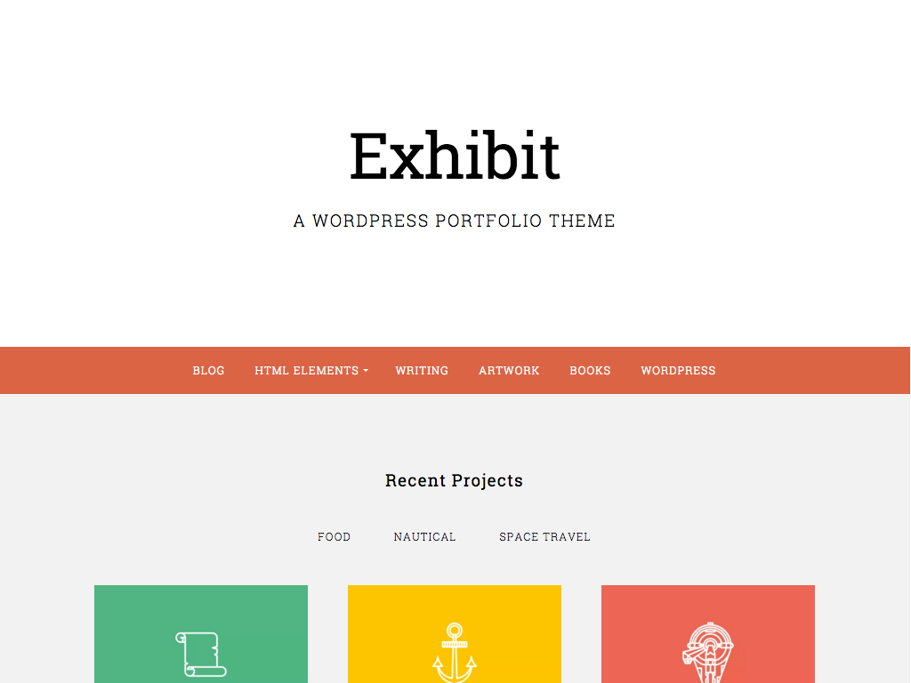 Screenshot of the Exhibit theme