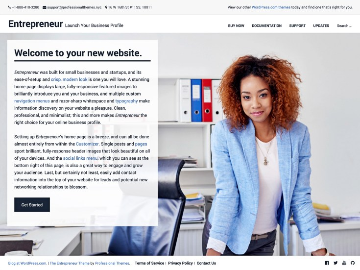 Screenshot of the Entrepreneur theme