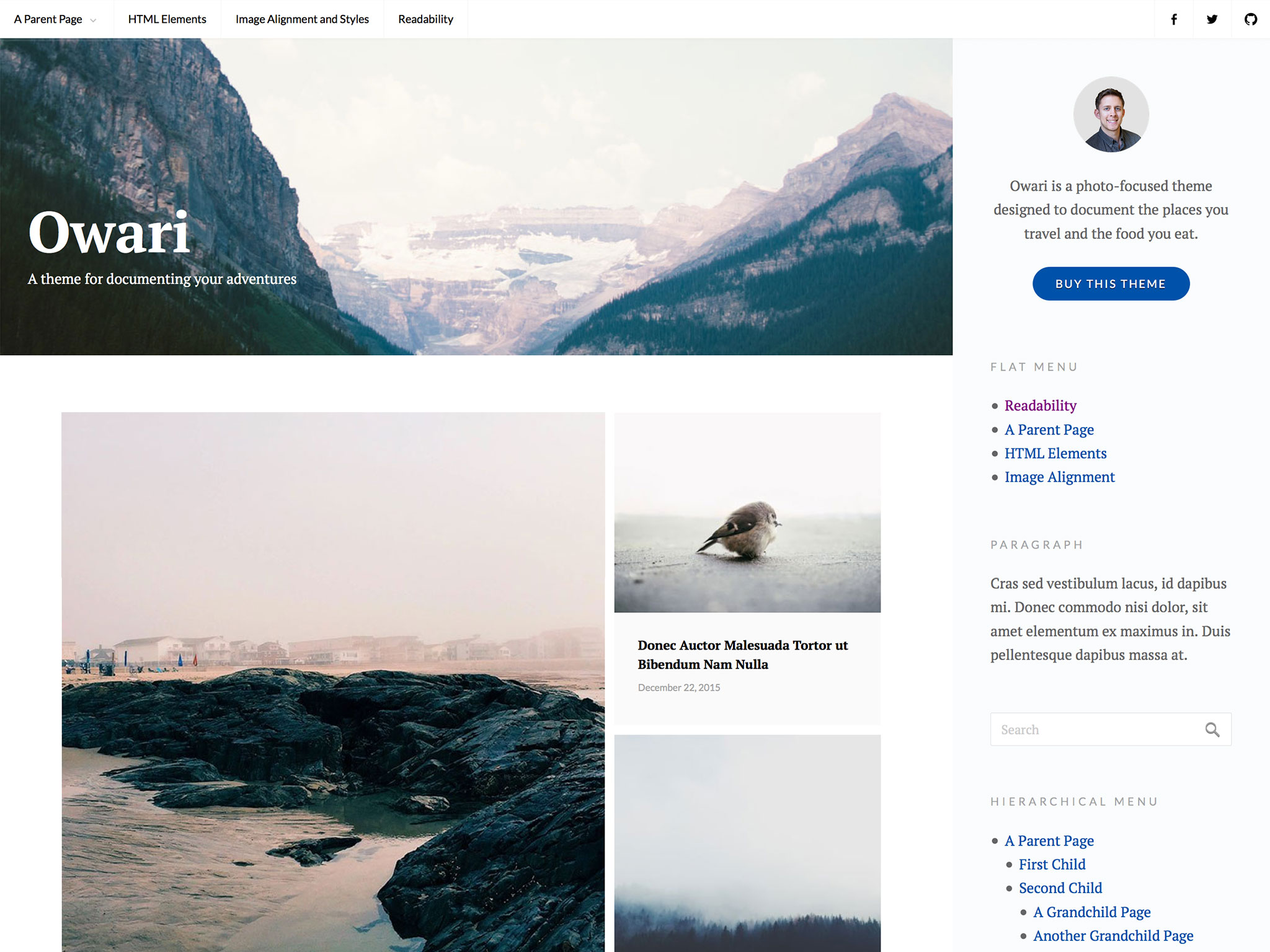Owari WordPress Theme