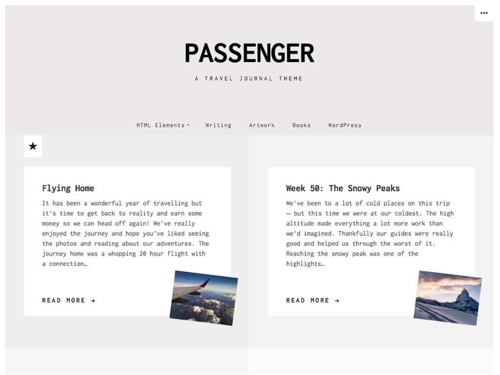 Screenshot of the Passenger theme