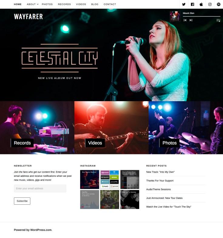 Screenshot of the Wayfarer theme
