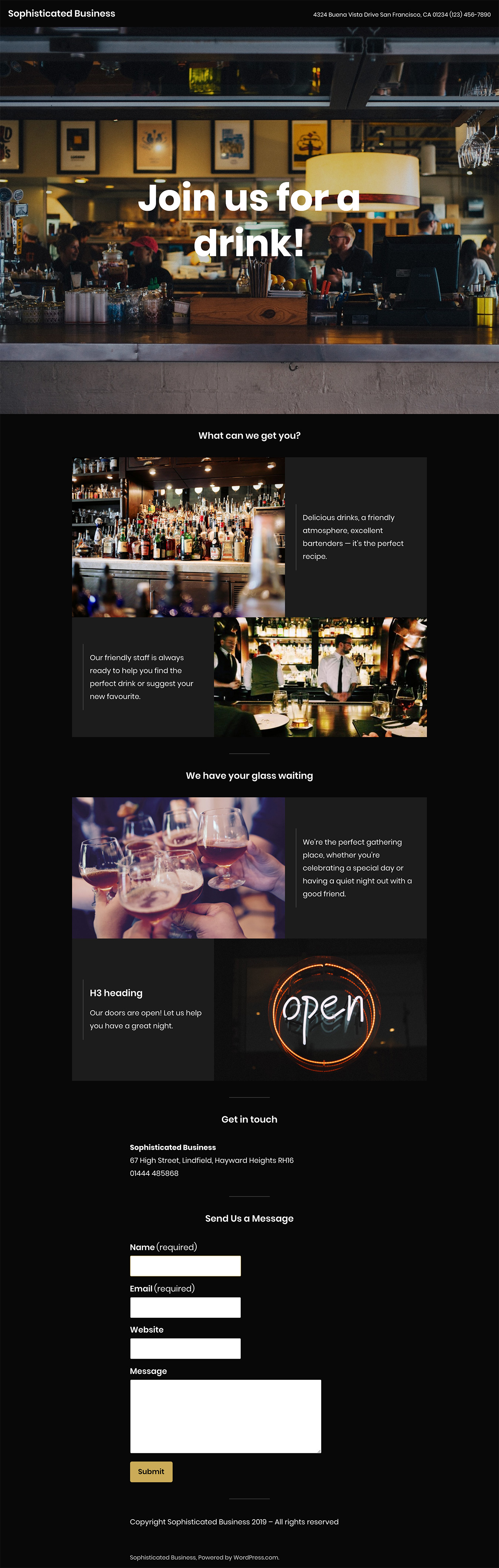 Screenshot of the Sophisticated Business theme