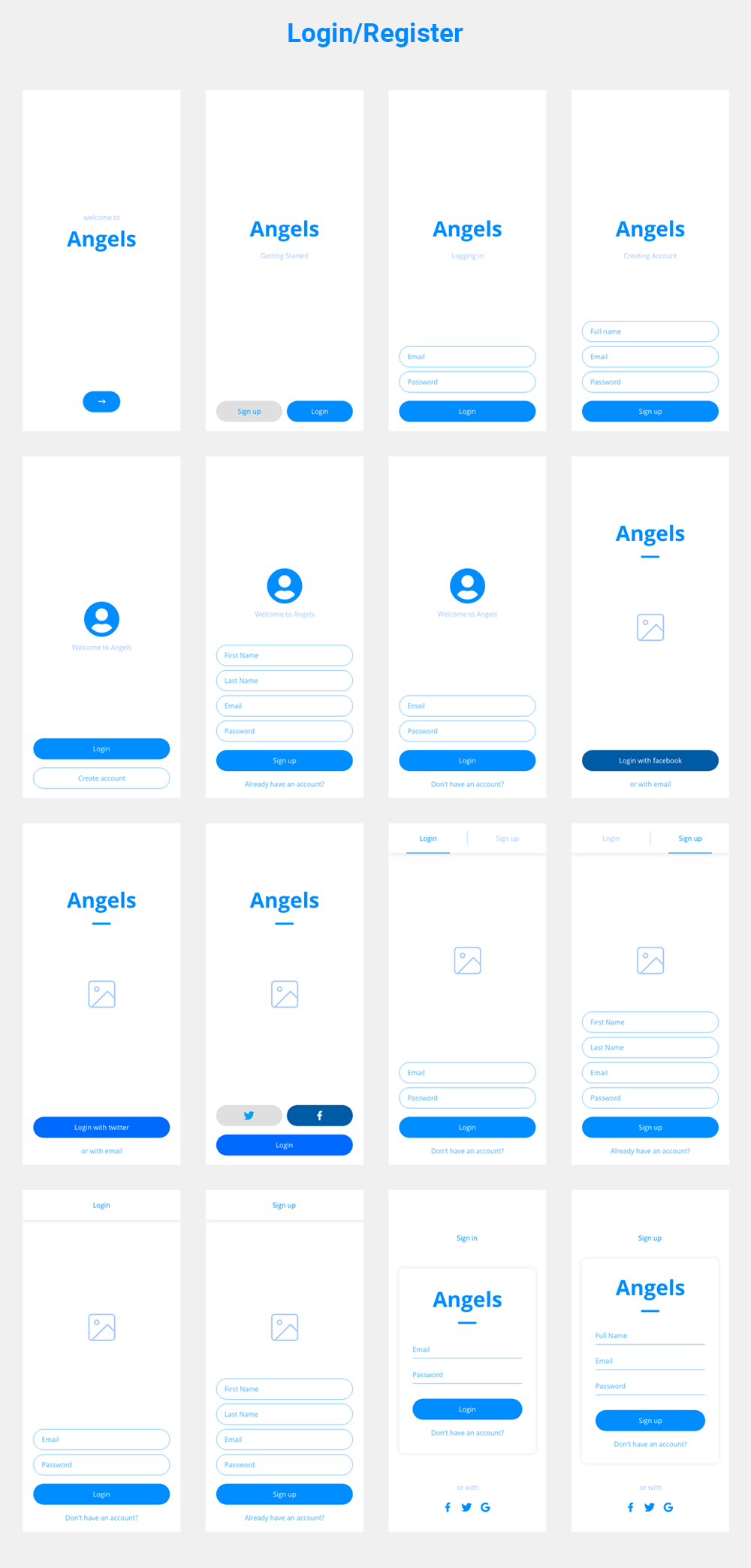 Dynamism - Mobile Wireframes Kit