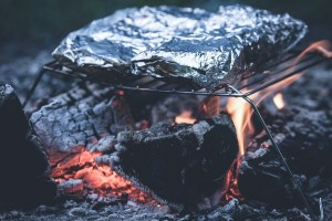meat grilled with aluminum foil