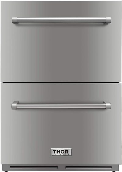 """Thor Kitchen 24"""" Indoor and Outdoor Double Drawer Under-Counter Refrigerator in Stainless Steel"""