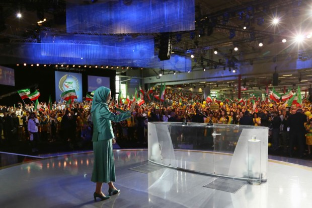 Image: President-elect of the Iranian coalition opposition group in exile Mrs. Maryam Rajavi of the NCRI (National Council of Resistance of Iran) before a crowd of dozens of thousands of Iranian diaspora at the annual grand gathering event. This year at Le Bourget, Paris, France 9 July 2016. Copyright Siavosh Hosseini | The Media Express 2016.