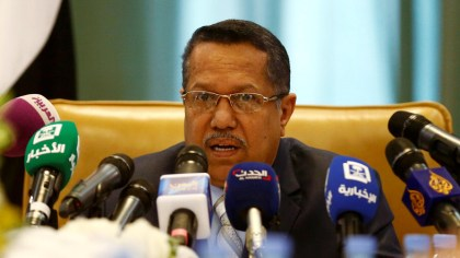 Yemen's Prime Minister Ahmed Obeid bin Daghr attends a news conference in Riyadh