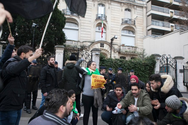 Paris, France, Syrians and Iranians protest infront of the Iranian Embassy in Paris