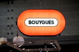 A Bouygues company logo is seen at the World Efficiency congress in Pari
