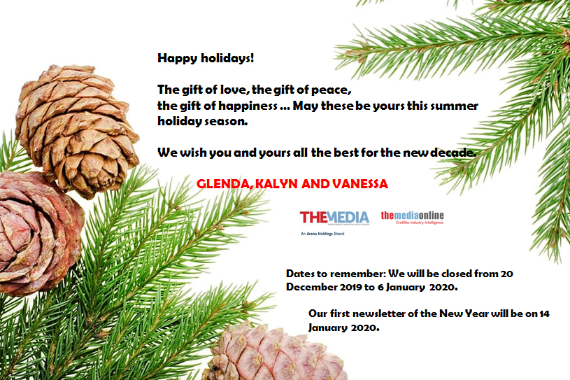 Happy holidays to our readers and advertisers!