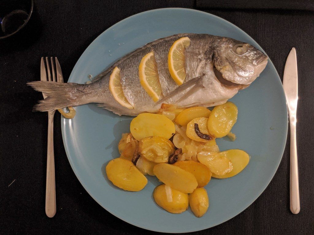Baked gilt-head bream (dorada al horno)