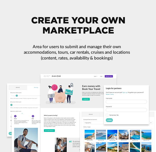 Marketplace ready for accommodations, tours, car rentals, cruises and locations: content, availability, rates and bookings