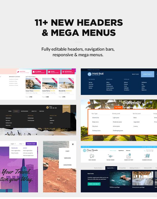 Header layouts and mega menus