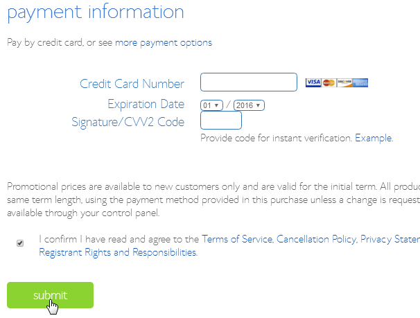 Bluehost Payment