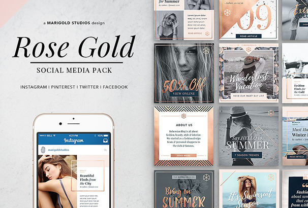 rose-gold-theme-social-media-pack