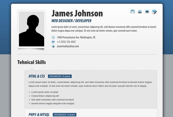 fancy resume cv is a responsive html template