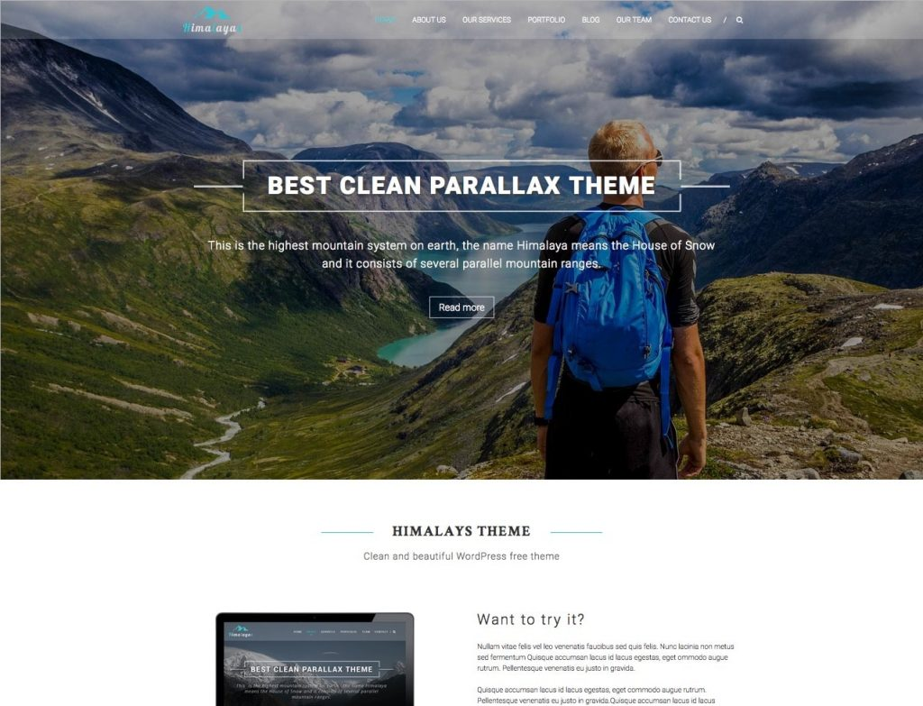 himalayas - free one page wordpress themes collection