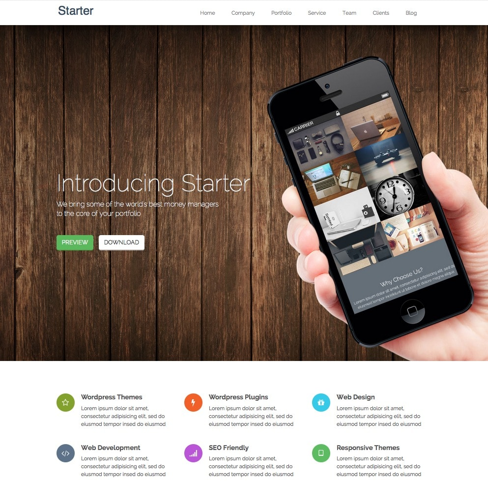 starter - free one page wordpress themes collection